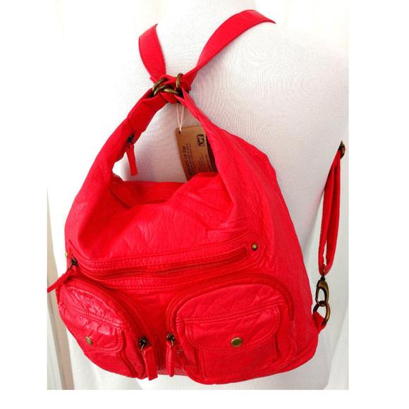 Ampere Creations Handbags - Backpack Handbag Crossbody Coral Vegan Leather